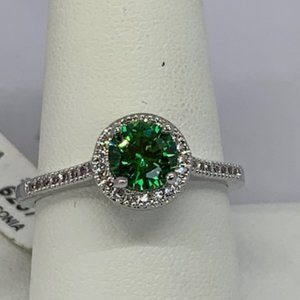 RS Covenant Sparkly Emerald & Clear Round CZ Ring